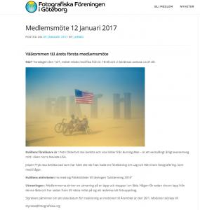 Föredrag hos Fotografiska Föreningen i Göteborg